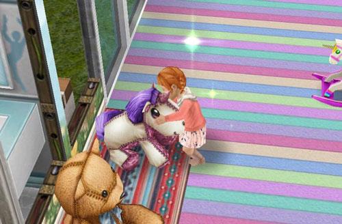 お留守番する幼児シムとぬいぐるみたち(The Sims フリープレイ)