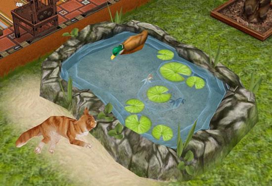 池の中の金魚をじっと見る猫(The Sims フリープレイ)