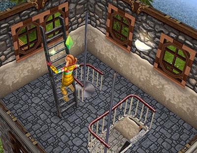 塔4階を元気に上る小学生女子(The Sims フリープレイ)