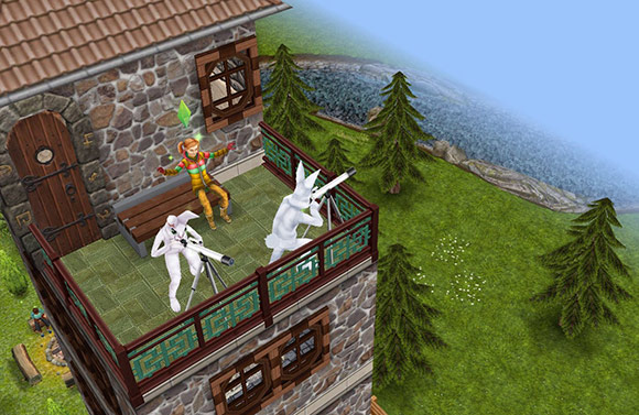 塔最上階の展望台(The Sims フリープレイ)