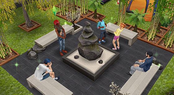 レクリエーション広場で楽しむシムたち(The Sims フリープレイ)
