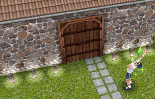 立派なキャンプ場の門に驚くシム(The Sims フリープレイ)