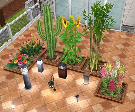 アウトドアイベント報酬の植物とアウトドアランプ(The Sims フリープレイ)