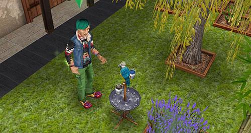 止まり木のオウム、柳、ラベンダー(The Sims フリープレイ)