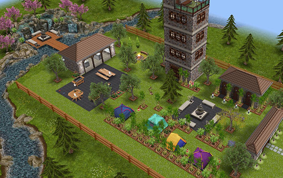 アウトドア家具を使ったキャンプ場の全体図(The Sims フリープレイ)