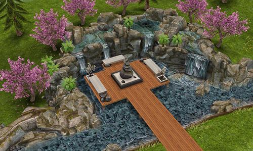 スパ住宅の滝と岩の広場(The Sims フリープレイ)