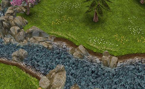 滝に続く小川(The Sims フリープレイ)