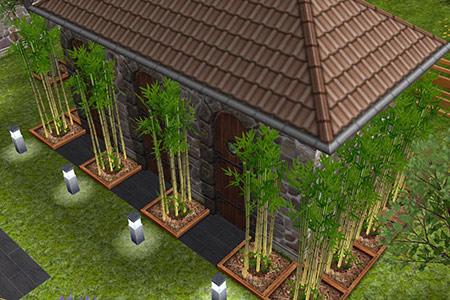 竹林に囲まれたお手洗い入り口(The Sims フリープレイ)
