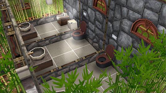 竹林に囲まれたお手洗い内部(The Sims フリープレイ)