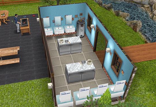 小川沿いのボイラー付き炊事場(The Sims フリープレイ)