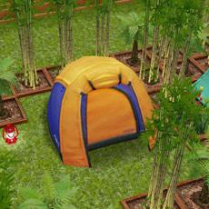 黄色いドームテント、キャンプ用ランタン、竹(The Sims フリープレイ)