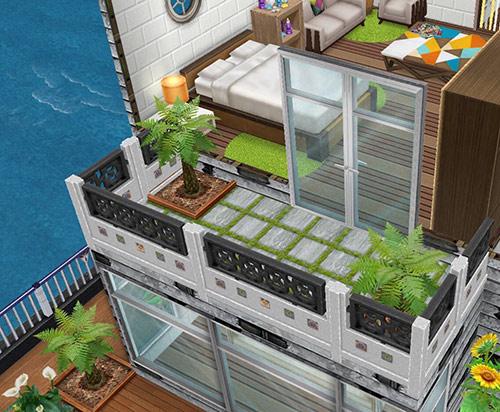 庭付きボートハウスのベッドルームのバルコニー(The Sims フリープレイ)