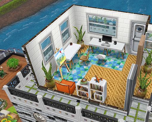 庭付きハウスボート3階の展望室兼書斎(The Sims フリープレイ)