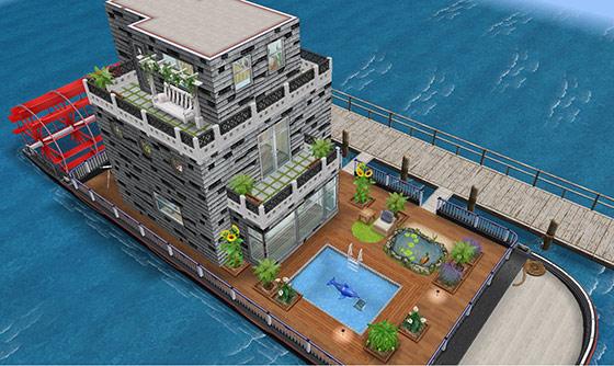 庭付きハウスボート外観(The Sims フリープレイ)