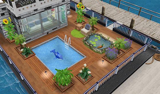 小庭に仕上げたハウスボートのデッキ(The Sims フリープレイ)