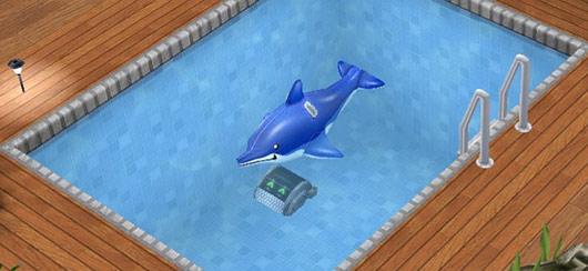 イルカの浮き輪にニコニコする自動プール掃除機(The Sims フリープレイ)