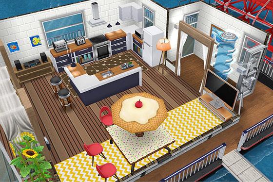 庭付きハウスボートのダイニングキッチン(The Sims フリープレイ)