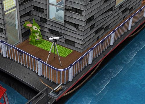 ハウスボートの裏デッキから海を眺める兎と望遠鏡(The Sims フリープレイ)