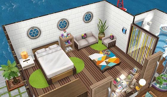 庭付きハウスボート2階の寝室(The Sims フリープレイ)