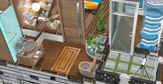 噴水とスパ家具をあしらった洗面所とバルコニー(The Sims フリープレイ)
