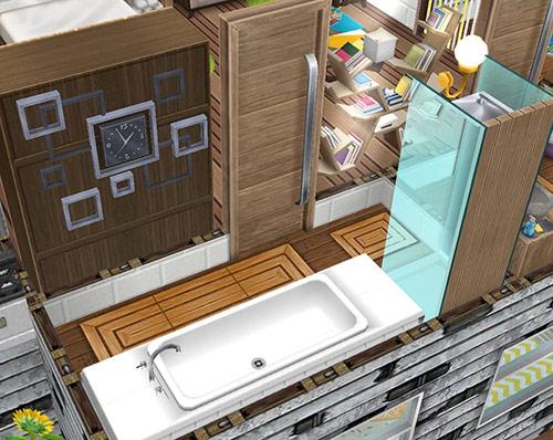 スパ家具とおしゃれな壁時計をあしらった、ハウスボートのバスルーム(The Sims フリープレイ)