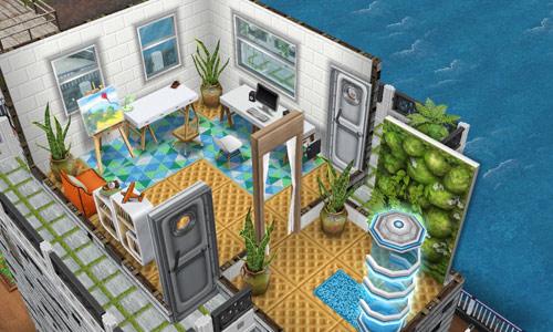 庭付きハウスボートの展望室(The Sims フリープレイ)