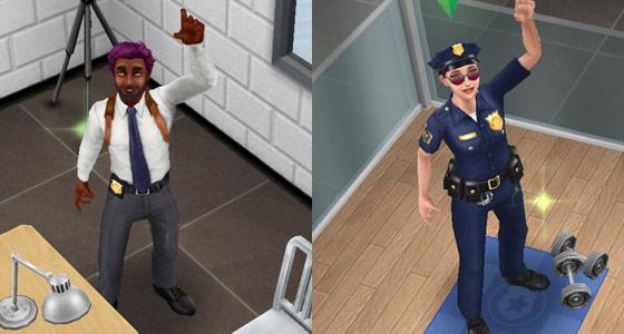 笑顔で手を振る捜査官シムと制服警官シム(The Sims フリープレイ)
