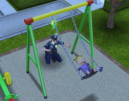 ブランコ遊びをする幼児シムと制服警官シム(The Sims フリープレイ)