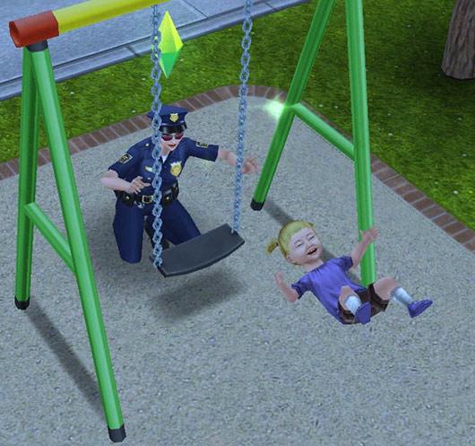 制服警官シムに押されてブランコから飛ばされる幼児シム(The Sims フリープレイ)
