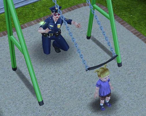 ブランコの前に呆然と立つ幼児シム(The Sims フリープレイ)
