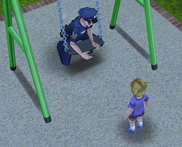 幼児シムに必死で謝る制服警官シム(The Sims フリープレイ)