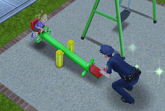 シーソーで楽しく遊ぶ幼児シムと制服警官シム(The Sims フリープレイ)
