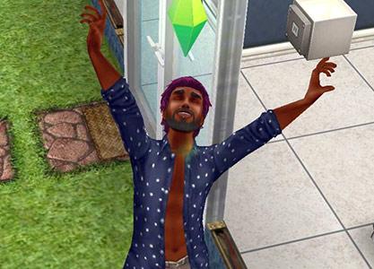解放感いっぱいに伸びをするシム(The Sims フリープレイ)