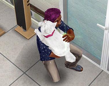 真っ白な愛猫を抱きしめるシム(The Sims フリープレイ)