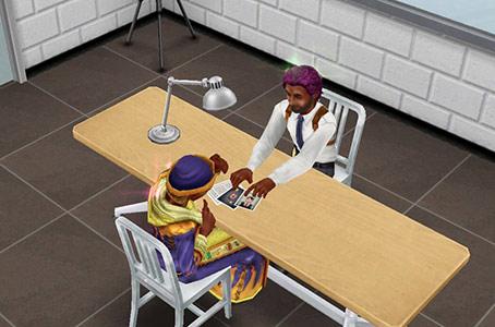 取り調べ室で写真を見せながら証言を聞く捜査官シム(The Sims フリープレイ)