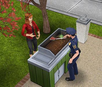 市民のために肉を焼く制服警官シム(The Sims フリープレイ)