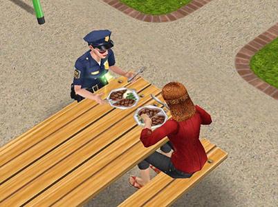 市民と一緒に肉を食べる制服警官シム(The Sims フリープレイ)