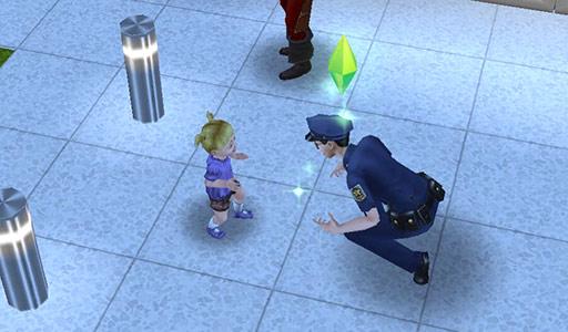 幼児シムに話しかける制服警官シム(The Sims フリープレイ)