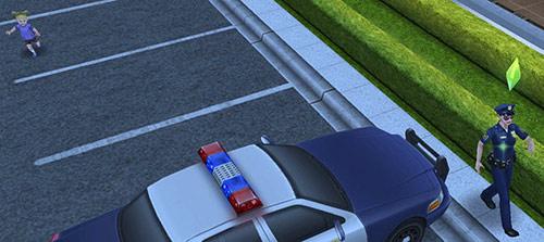 幼児シムをおいてけぼりにして、はりきって歩く制服警官シム(The Sims フリープレイ)