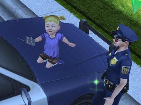 パトカーに喜ぶ幼児シム(The Sims フリープレイ)