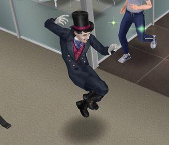 警察署内を怪しいポーズで飛びまわるヴァンパイア(The Sims フリープレイ)