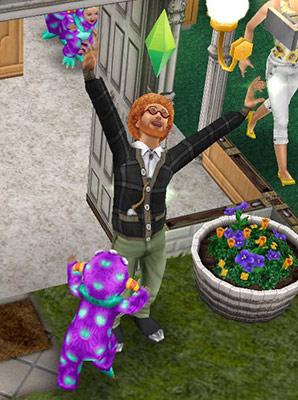 キャンディーモンスターに驚かされるシム(The Sims フリープレイ)