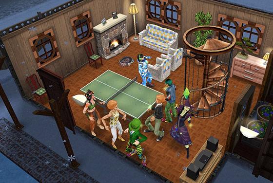 雪山のコテージで不気味な音楽に合わせて踊り盛り上がるシムたち(The Sims フリープレイ)