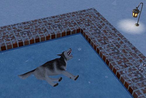 スケートリンクでごろごろしながら、降ってくる雪を食べるハスキー犬(The Sims フリープレイ)
