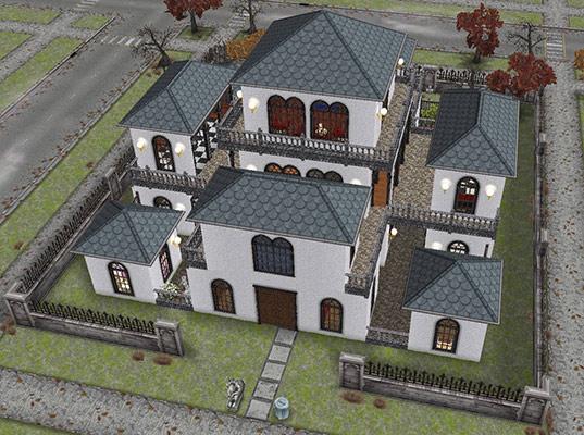 ハロウィンのとあるデザイナーズ住宅の外観(The Sims フリープレイ)