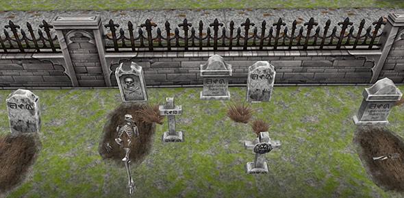 ハロウィンのデザイナーズ住宅の裏庭にある墓場(The Sims フリープレイ)