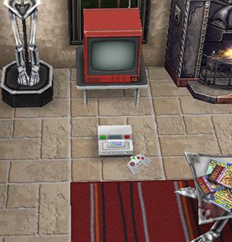 赤い縞模様のラグとゲーム機(The Sims フリープレイ)