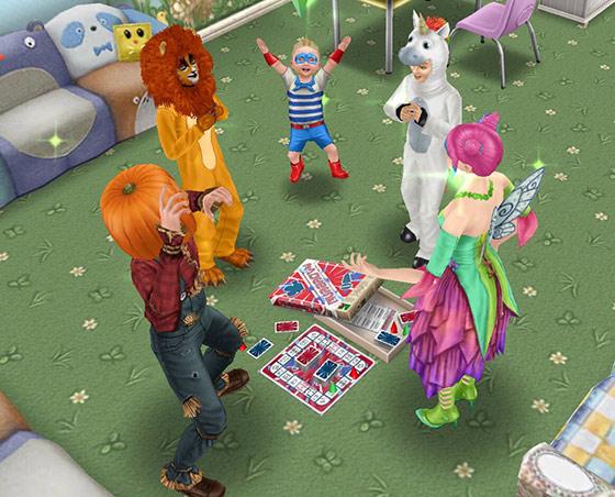 ハロウィン仮装でシャレードを遊ぶ子どもたち(The Sims フリープレイ)
