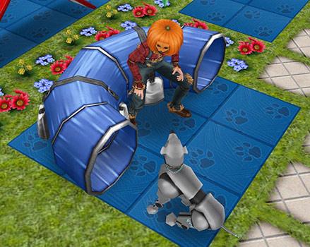 トレーニングよりティーンシムのカボチャ頭を気にする犬(The Sims フリープレイ)