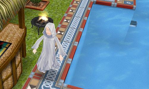 幽霊を前に、目をつむって死んだふりする自動プール掃除機(The Sims フリープレイ)